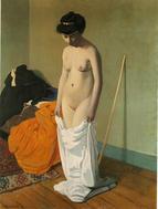 Vallotton: Femme nue retenant sa chemise a deux mains 1904